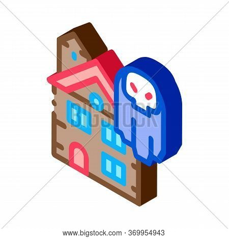 House With Ghosts Icon Vector. Isometric House With Ghosts Sign. Color Isolated Symbol Illustration