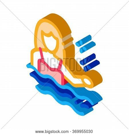 Woman Swimmer Icon Vector. Isometric Woman Swimmer Sign. Color Isolated Symbol Illustration