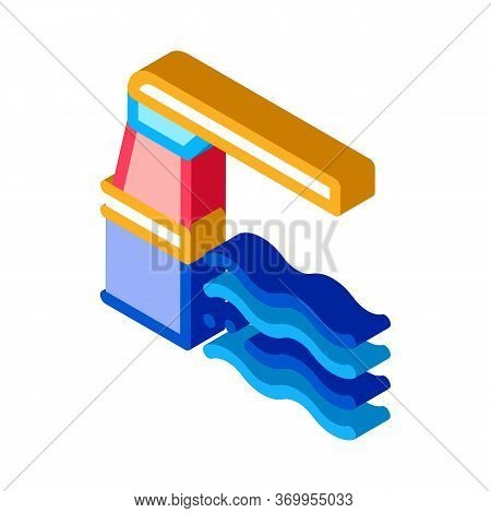 Water Level Meter Icon Vector. Isometric Water Level Meter Sign. Color Isolated Symbol Illustration