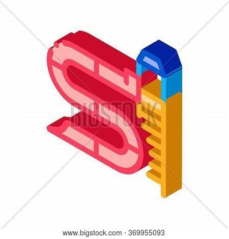 Zigzag Water Slide Icon Vector. Isometric Zigzag Water Slide Sign. Color Isolated Symbol Illustratio