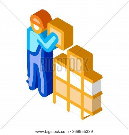 Tile Stacker Icon Vector. Isometric Tile Stacker Sign. Color Isolated Symbol Illustration