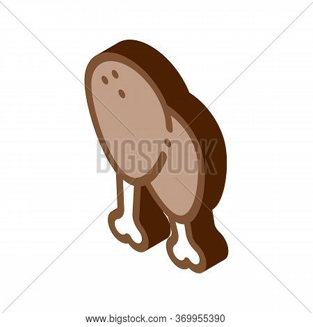 Chicken Legs Icon Vector. Isometric Chicken Legs Sign. Color Isolated Symbol Illustration