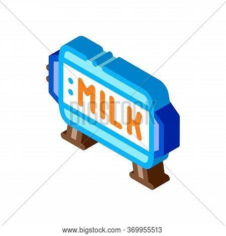 Amount Of Milk In Tank Icon Vector. Isometric Amount Of Milk In Tank Sign. Color Isolated Symbol Ill