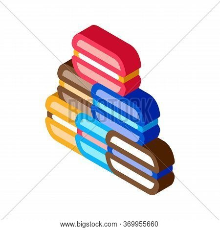 French Macaroons Icon Vector. Isometric French Macaroons Sign. Color Isolated Symbol Illustration