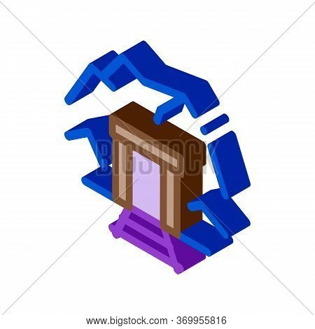 Mine Entrance Icon Vector. Isometric Mine Entrance Sign. Color Isolated Symbol Illustration