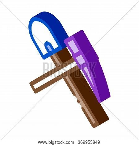 Shovel And Pickaxe Icon Vector. Isometric Shovel And Pickaxe Sign. Color Isolated Symbol Illustratio