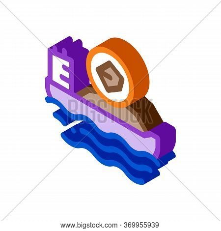 Mobile Boat With Coal Icon Vector. Isometric Mobile Boat With Coal Sign. Color Isolated Symbol Illus