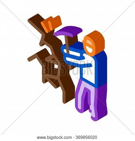 Miner With Pickaxe Icon Vector. Isometric Miner With Pickaxe Sign. Color Isolated Symbol Illustratio