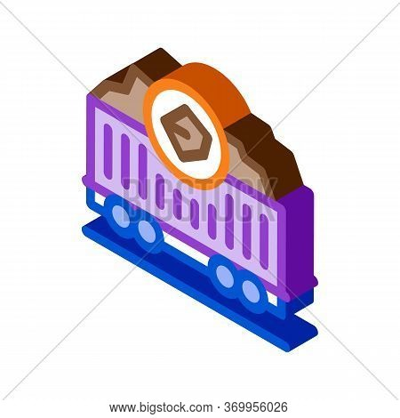 Coal Trolley Icon Vector. Isometric Coal Trolley Sign. Color Isolated Symbol Illustration