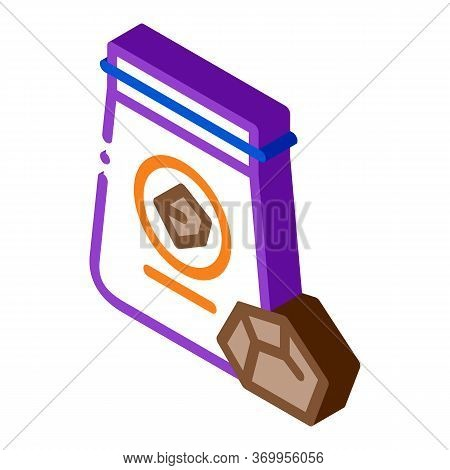 Coal In Bag Icon Vector. Isometric Coal In Bag Sign. Color Isolated Symbol Illustration