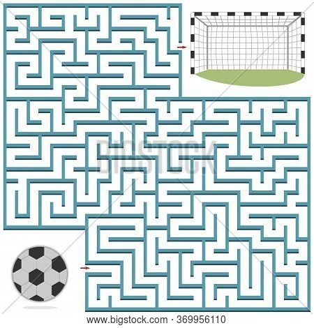 Maze Puzzle On The Theme Of Sports, Football, Help The Ball Get Into The Goal, The Shape Of The Maze
