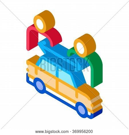 Two Buyers Per Car Icon Vector. Isometric Two Buyers Per Car Sign. Color Isolated Symbol Illustratio