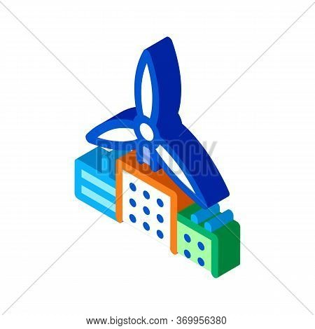 Wind Energy Residential Technology Icon Vector. Isometric Wind Energy Residential Technology Sign. C