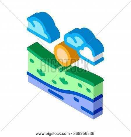 Current River Among Urban City Icon Vector. Isometric Current River Among Urban City Sign. Color Iso