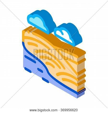 River Landscape With Hills Icon Vector. Isometric River Landscape With Hills Sign. Color Isolated Sy