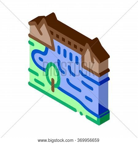 Boat In River Landscape Icon Vector. Isometric Boat In River Landscape Sign. Color Isolated Symbol I