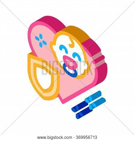 Baby Immunity Protection Icon Vector. Isometric Baby Immunity Protection Sign. Color Isolated Symbol