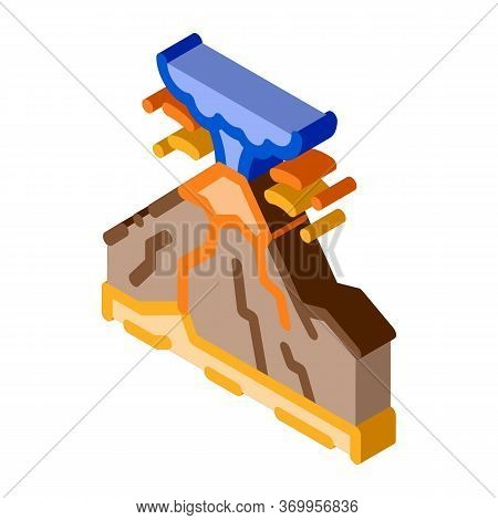 Mountain Eruption Icon Vector. Isometric Mountain Eruption Sign. Color Isolated Symbol Illustration