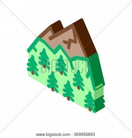 Mountain Landskape With Vegetation Icon Vector. Isometric Mountain Landskape With Vegetation Sign. C