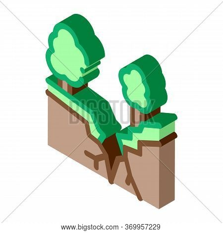 Earthquake Rupture Of Forest Icon Vector. Isometric Earthquake Rupture Of Forest Sign. Color Isolate