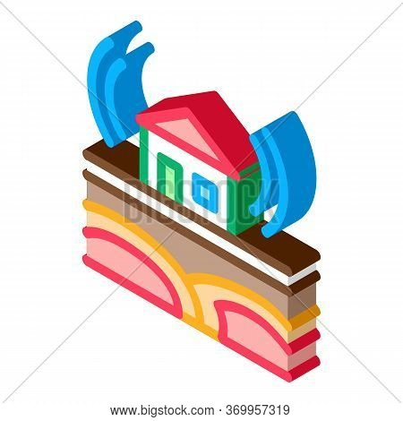 Seismic Wave Residential Building Icon Vector. Isometric Seismic Wave Residential Building Sign. Col
