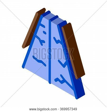 Fault Gorge On Road Icon Vector. Isometric Fault Gorge On Road Sign. Color Isolated Symbol Illustrat
