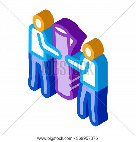People Carry Rolled Carpet Icon Vector. Isometric People Carry Rolled Carpet Sign. Color Isolated Sy