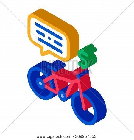 Payment For Using Bicycle Icon Vector. Isometric Payment For Using Bicycle Sign. Color Isolated Symb