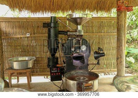 Coffee Roasting Machine. Professional Roasting Machine On Coffee Factory. New Modern Roasting Equipm