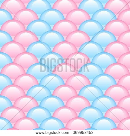 Princess Seamless Pattern For Textiles, Fabric. Kids Girly Print With Circles. Mermaid Tail, Fish Sc