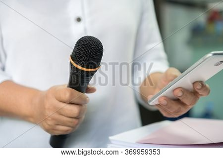 Teacher Or Business Man Hold Microphone For Teaching On Speech Or Speaker At Seminar Conference With