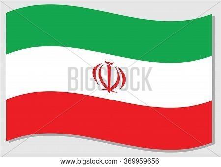 Waving Flag Of Iran Vector Graphic. Waving Iranian Flag Illustration. Iran Country Flag Wavin In The