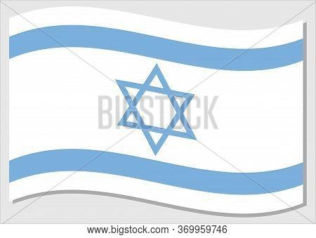 Waving Flag Of Israel Vector Graphic. Waving Israeli Flag Illustration. Israel Country Flag Wavin In