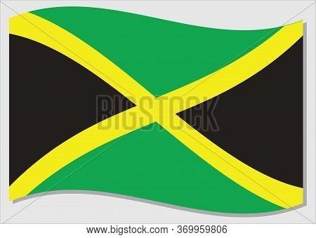 Waving Flag Of Jamaica Vector Graphic. Waving Jamaican Flag Illustration. Jamaica Country Flag Wavin