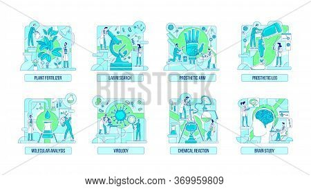 Laboratory Experiments Thin Line Concept Vector Illustrations Set. Scientists 2d Cartoon Characters