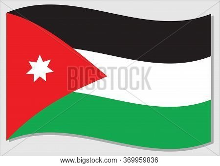 Waving Flag Of Jordan Vector Graphic. Waving Jordanian Flag Illustration. Jordan Country Flag Wavin