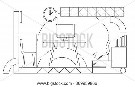 Company Ceo Personal Office Outline Vector Illustration. Modern Coworking Space Interior Design Cont