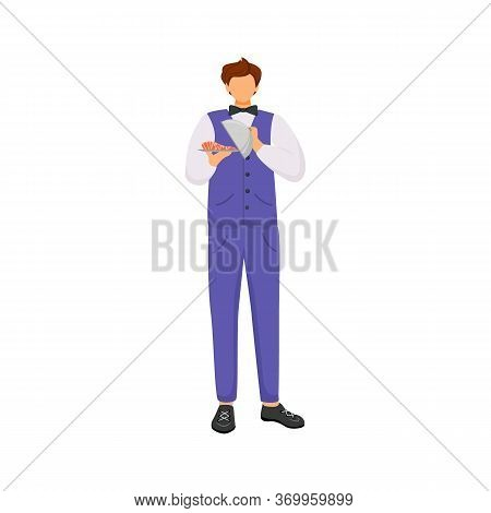 Waiter, Male Servant With Dish Flat Color Vector Faceless Character. Catering, Restaurant Service. S