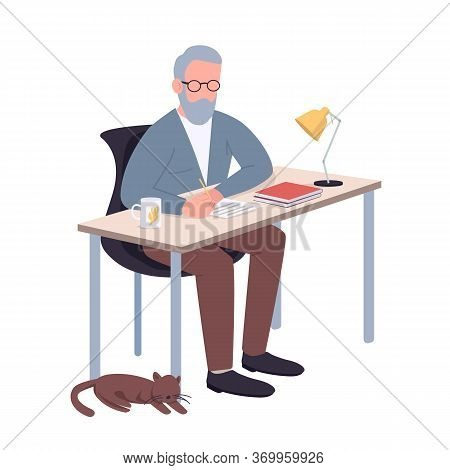 School, College Teacher Flat Color Vector Faceless Character. Old Man, Elderly Professor Sitting At