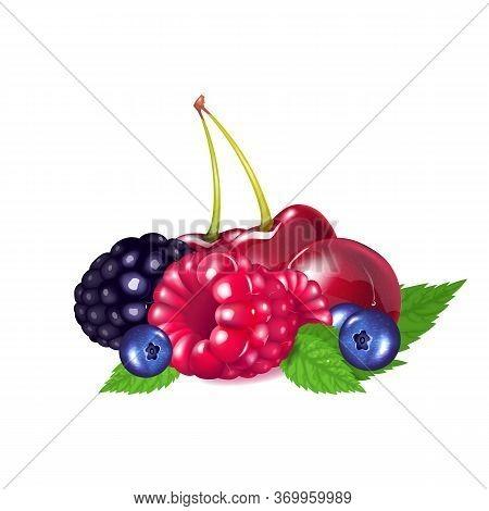 Ripe Berries Realistic Vector Illustration. Natural Food, Sweet Dessert, Vegetarian Nutrition. Cherr
