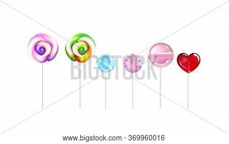 Lollipops, Sugar Candies Realistic Vector Illustrations Set. Sweet Stuff, Caramel. Tasty Desserts, S