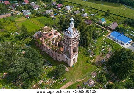 Top View Of The Abandoned Ancient Church Of The Almighty Savior On A July Day. The Village Of Spas (