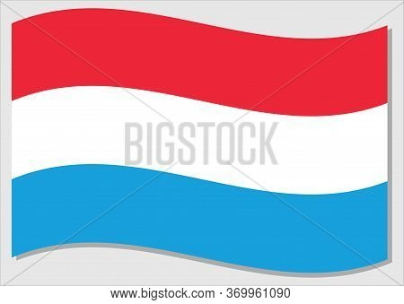 Waving Flag Of Luxembourg Vector Graphic. Waving Luxembourger Flag Illustration. Luxembourg Country