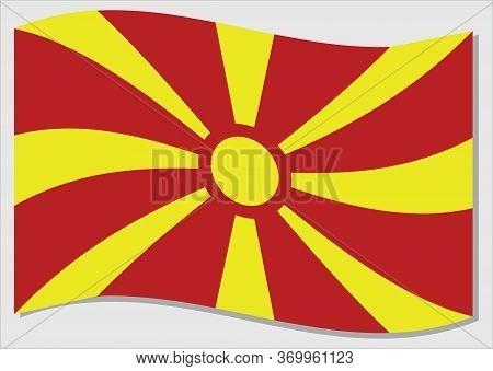 Waving Flag Of Macedonia Vector Graphic. Waving Macedonian Flag Illustration. Macedonia Country Flag