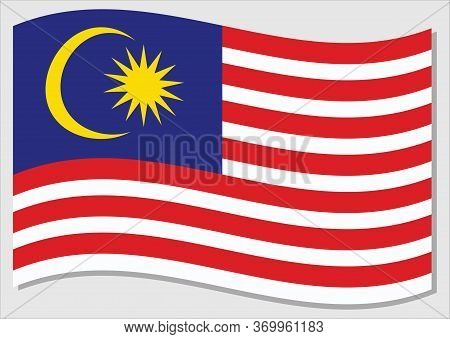 Waving Flag Of Malaysia Vector Graphic. Waving Malaysian Flag Illustration. Malaysia Country Flag Wa