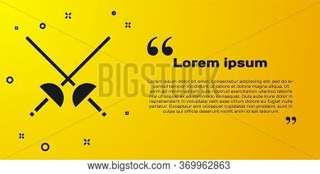 Black Fencing Icon Isolated On Yellow Background. Sport Equipment. Vector Illustration