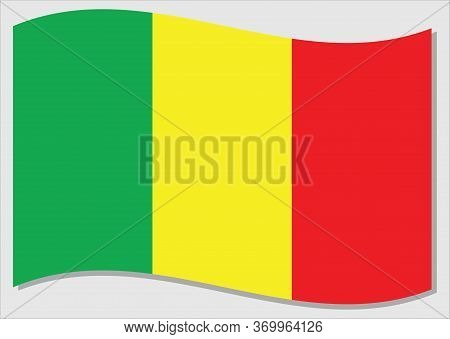 Waving Flag Of Mali Vector Graphic. Waving Malian Flag Illustration. Mali Country Flag Wavin In The
