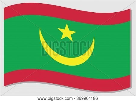 Waving Flag Of Mauritania Vector Graphic. Waving Mauritanian Flag Illustration. Mauritania Country F