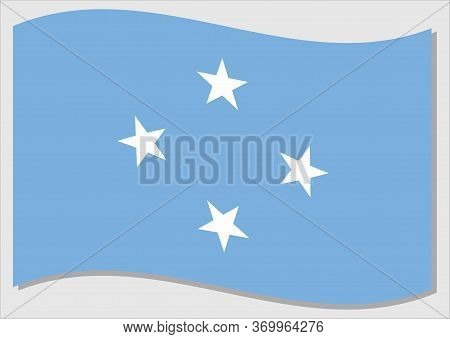 Waving Flag Of Micronesia Vector Graphic. Waving Micronesian Flag Illustration. Micronesia Country F