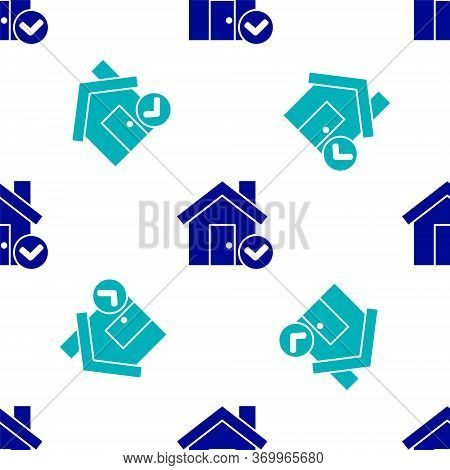 Blue House With Check Mark Icon Isolated Seamless Pattern On White Background. Real Estate Agency Or